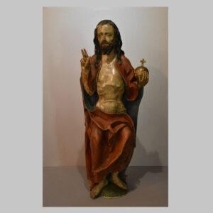 Christusfigur, Salvator mundi, Holzskulptur