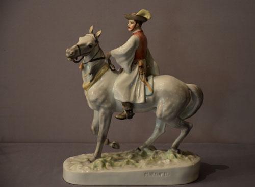 Porzellanfigur Herend, Reiter zu Pferd
